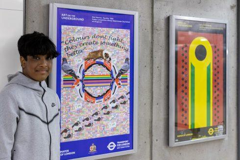 Niaz Rahman, Sankofa School Poster Competition Winner, Art on the Underground with Westminster City School and artist Shepherd Manyika. Photo by Benedict Johnson, 2021.