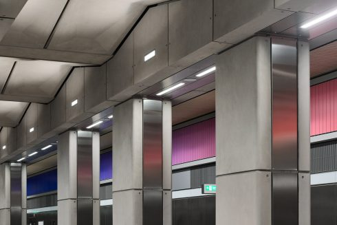 Alexandre da Cunha, 'Sunset, Sunrise, Sunset', 2021. Battersea Power Station Underground station. Commissioned by Art on the Underground. Courtesy the artist and Thomas Dane Gallery. Photo by GG Archard, 2021.